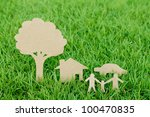 paper cut of family with house  ... | Shutterstock . vector #100470835