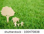 paper cut of family with house... | Shutterstock . vector #100470838