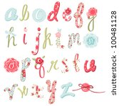 unique vector flower font.... | Shutterstock .eps vector #100481128