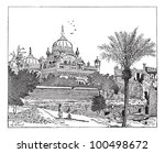Mausoleum of Ranjit Singh, Lahore, Pakistan, vintage engraved illustration. Dictionary of words and things - Larive and Fleury - 1895. - stock vector