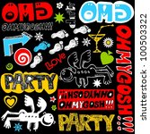 crazy doodle set isolated on... | Shutterstock . vector #100503322