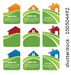 brunch,clip art,collection,cottage,design,eco,ecological,floral,friendly,glossy,grass,green,home,house,icon