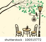 open air cafe under a tree with ...