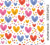 cute hearts pattern - stock vector