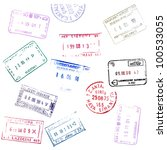 colorful passport stamps... | Shutterstock .eps vector #100533055
