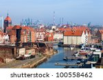 Aerial view na cityscape of Gdansk, Poland. - stock photo