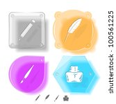 education icon set. brush ... | Shutterstock . vector #100561225