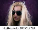 portrait of freaky blonde girl... | Shutterstock . vector #1005619228