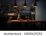 food and wine on the bar... | Shutterstock . vector #1005619252