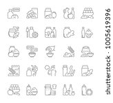 collection of line gray icons... | Shutterstock .eps vector #1005619396