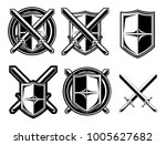knight shield and sword emblem... | Shutterstock .eps vector #1005627682