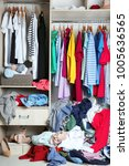 wardrobe with messy clothes ... | Shutterstock . vector #1005636565