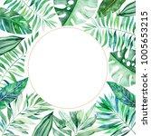 watercolor round frame border... | Shutterstock . vector #1005653215