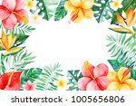 watercolor tropical frame... | Shutterstock . vector #1005656806