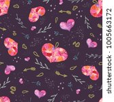 seamless valentine pattern with ... | Shutterstock . vector #1005663172
