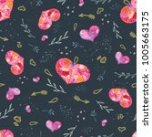 seamless valentine pattern with ... | Shutterstock . vector #1005663175