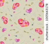 seamless valentine pattern with ... | Shutterstock . vector #1005663178
