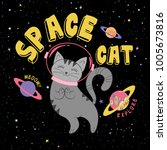 cute space cat graphic | Shutterstock .eps vector #1005673816