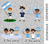 Set of boys with national flags of Argentina. Blanks for the day of the flag, independence, nation day and other public holidays. The guys in sports form with the attributes of the football team