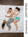 young couple relaxation on the... | Shutterstock . vector #1005700282