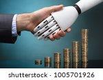 businessperson and robot... | Shutterstock . vector #1005701926