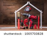 close up of repairs tools under ... | Shutterstock . vector #1005703828