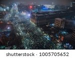 Small photo of Bucharest, Romania - January 20, 2018: Thousand of Romanian around the country protest in Bucharest against governing coalition and its plans to change the rules of Justice.