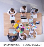 business people sitting and... | Shutterstock . vector #1005710662