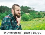 handsome man hipster with beard ... | Shutterstock . vector #1005715792