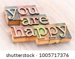 Small photo of You are happy positive affirmation - word abstract in letterpress wood type printing blocks