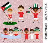 set of boys with national flags ... | Shutterstock .eps vector #1005717916