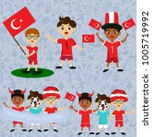 set of boys with national flags ... | Shutterstock .eps vector #1005719992