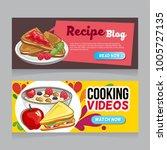 breakfast doodle web banner | Shutterstock .eps vector #1005727135