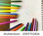 smile faces drawn on the white...   Shutterstock . vector #1005741826