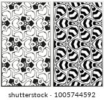 monochrome seamless patterns... | Shutterstock . vector #1005744592