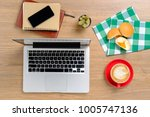 view from above.office desk...   Shutterstock . vector #1005747136