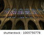 Small photo of Paris,France-January 19,2018: Stained glass of Basilique Saint-Denis, a Gothic architecture and an architectural landmark in Paris.