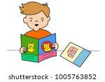 vector hand drawn  boy reads...   Shutterstock .eps vector #1005763852