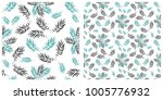 seamless pattern in two layers... | Shutterstock .eps vector #1005776932