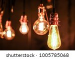 close up many yellow lamp in... | Shutterstock . vector #1005785068