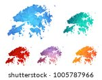 variety color polygon map on... | Shutterstock .eps vector #1005787966