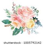watercolor floral illustration  ... | Shutterstock . vector #1005792142