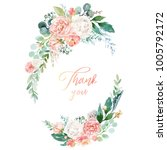watercolor floral illustration  ... | Shutterstock . vector #1005792172