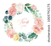 watercolor floral illustration  ... | Shutterstock . vector #1005792175