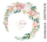 watercolor floral illustration  ... | Shutterstock . vector #1005792178