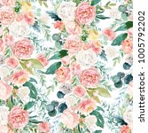 seamless watercolor floral...   Shutterstock . vector #1005792202