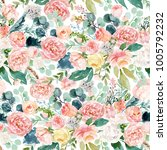 seamless watercolor floral... | Shutterstock . vector #1005792232