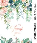 Stock photo watercolor floral illustration wreath frame with bright peach color white pink vivid flowers 1005792268