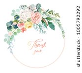 watercolor floral illustration  ... | Shutterstock . vector #1005792292
