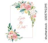 watercolor floral illustration  ... | Shutterstock . vector #1005792295